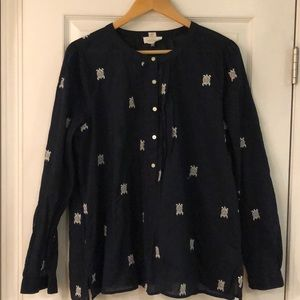 Loft cotton blouse with turtle embroidery